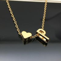New Simple Heart Letter Necklace Elegant Temperament 26 Letters Collarbone Chain