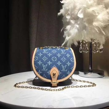 LV Louis Vuitton MONOGRAM JEANS CANVAS INCLINED CHAIN SHOULDER BAG