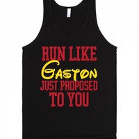 Run Like Gaston Just Proposed To You-Unisex Black Tank