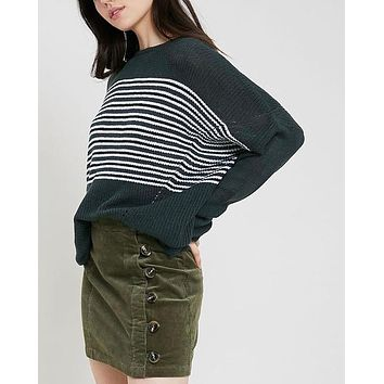 Round Neck Striped Ribbed Knit Sweater in Teal Green