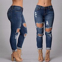 FASHION WOMENS RIPPED KNEE CUT JEANS FADED SLIM FIT LADIES SKINNY DENIM
