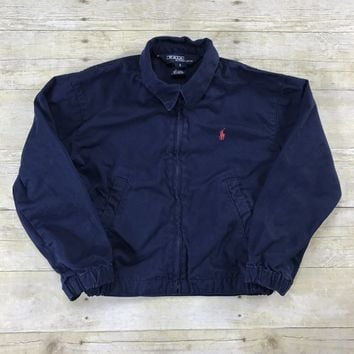 Polo By Ralph Lauren Navy Blue Classic Windbreaker Chino Jacket YOUTH Size 5