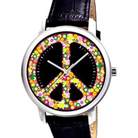 """Beautiful """"PEACE"""" Sign Floral Art Collectible Designer Wrist Watch in Unisex Size"""