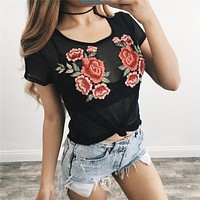 Fashion  Round Neck Short Sleeve Embroidery Flower Gauze Perspective T-shirt Tops
