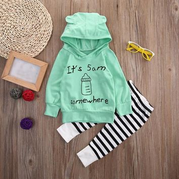 It's 5 am Baby Striped Sweatshirt Top +Long Pants Outfits Baby Clothes long sleeve sets for girls and boys drop ship
