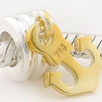 925 Sterling Silver Ring Shape Charm with Gold Color Anchor Dangle for Pandora, Biagi, Chamilia, Troll and More Bracelets
