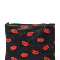 Kisses Print Makeup Clutch