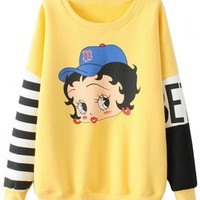 Classic Paneled Striped-Sleeve Cartoon Pattern Sweatshirt - OASAP.com