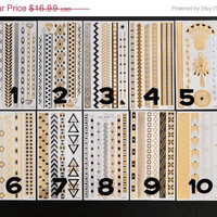 SALE!  Pick Any Two Bundle Pack! - Metallic Gold Silver and Black Temporary Tattoo - Flash Tattoo - Jewelry Tattoo - Body Ink Art - Stylish