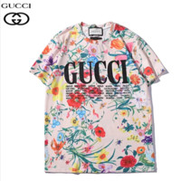 Summer New Fashion Floral Leaf Letter Print Couple Top T-shirt