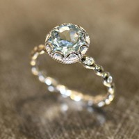 Fashion vintage blue Crystal Rings for women New trendy retro Crystal stone Ring classic copper Rings female engagment gift