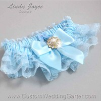 """Alice Blue and Light Blue Lace Wedding Garter """"Penny 10"""" Gold"""