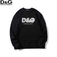 D&G fashion casual couple LOGO printed round collar long sleeve sweater