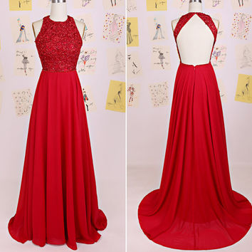 Red Beaded and Chiffon Prom Gowns Evening Dresses pst0119