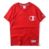 Champion embroidery Cotton women and man top tee T-shirt blouse-1