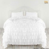 WHITE WATERFALL RUFFLED SOLID DUVET SET/SKIRT 1000TC 100% COTTON SCALA ALL SIZE