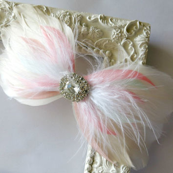 Bow Hairclip, Feather Fascinator, Wedding Hairpiece, Champagne, Mint, Coral, Peach, Vintage Wedding