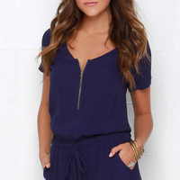 Howz About It Navy Blue Romper