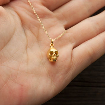 Gold Skull Necklace - Halloween Jewelry . Matte 24K Gold-Dipped Skull Pendant . October Wedding . Goth, Spooky Gift for Her