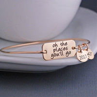 2017 Graduation Bracelet - Oh the Places You'll Go - Perfect Gift
