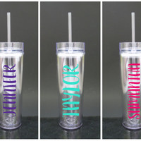Skinny Tumbler - Custom Name Personalized Tumbler - Bridesmaid Gift - Bachelorette Party