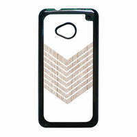 White Geometric Minimalist With Wood Grain HTC One M7 Case