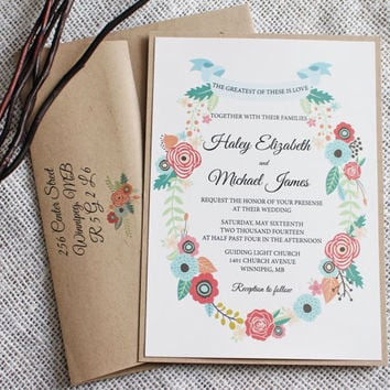 Rustic Floral Wedding Invitation. Romantic Wedding Invitation. Suite. Rustic Chic, Wedding Invitation. Wedding Stationary Custom Stationary