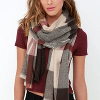 Wildwood Cabin Brown and Beige Plaid Scarf