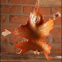 Falling Leaf Christmas Ornament - Orange