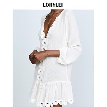 Sexy Plunging Neck Scallop Edge A Line Beach Dress White Cotton Tunic Women Summer Beachwear Bathing Suit Cover Up Pareo N556