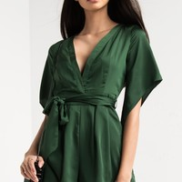 AKIRA Plunging V Neck Zip Up Waist Tie Short Romper in Hunter Green, Taupe