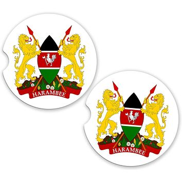 Kenya World Flag Coat Of Arms Sandstone Car Cup Holder Matching Coaster Set