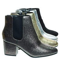 Upscale04 Chunky Block Heel Chelsea Ankle Bootie w Side Elastic, F-Suede Lining