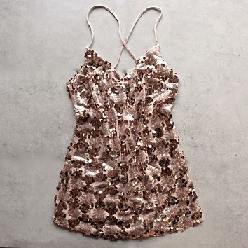 Set the Tone Sequin Disc Mini Dress in Rose Gold