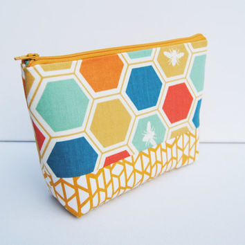 Bright, colorful, honey bee, bumble bee, zipper pouch, cosmetic bag, makeup bag, clutch, toiletry bag, project keeper, geometric travel tote