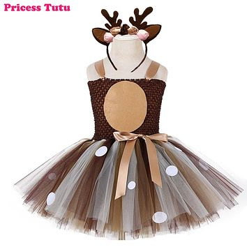 Christmas Deer Tutu Dress Baby Girls 1st Birthday Party Dresses Happy Purim Halloween Winter Cosplay Costume Clothes For Kids