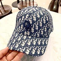 Dior 2019 new men and women fashion retro beach visor baseball cap Blue