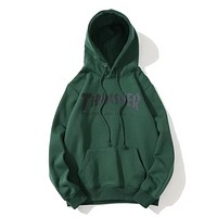 Thrasher New Fashion Autumn And Winter Bust Letter Print Hooded Sports Leisure Long Sleeve Couple Top Sweater Green