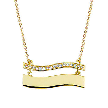 14k Solid Gold Bar Necklace, Name Tag, Plate Gold Necklace