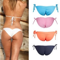 Women Tie Side Swimwear Sexy Scrunch Brazilian Ruched Semi Thong Bikini Bottom = 1956978884