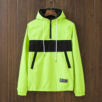 Men's Patchwork Slim Fit Quilted Lightweight Jackets with Hood