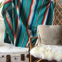 Teal & Red Striped Mexican Aztec Blanket - Cabin, Festival, beach, Wall Hanging