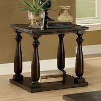 Wooden End Table with Open Shelf, Dark Walnut Brown By Casagear Home