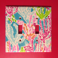Lilly Pulitzer Print Inspired Double Lightswitch Cover