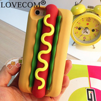 LOVECOM Simulat 3D Hot Dog Anti Knock Soft Silicon Mobile phone Back cover Phone case for iPhone 7 For iPhone 5S 5C 6 6S 7 Plus