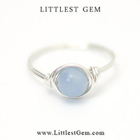 Angelite Ring - unique rings - wire wrapped jewelry handmade - custom ring