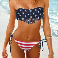 Tassel Bikini Swimsuit set Flag Print