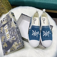 Dior embroidered monogram canvas loafers shoes