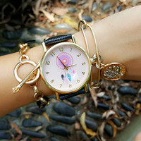 PU Leather Belt Round Dial Quartz Watch with Dream Catcher Print