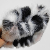 Black and Pink! Faux Fur Cosmetic Pouch - Cosmetic Purse, Small Pouch, Travel Pouch, Super soft multi-color faux fur